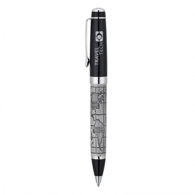 Bettoni Collection Etched World Map Ballpoint Pen