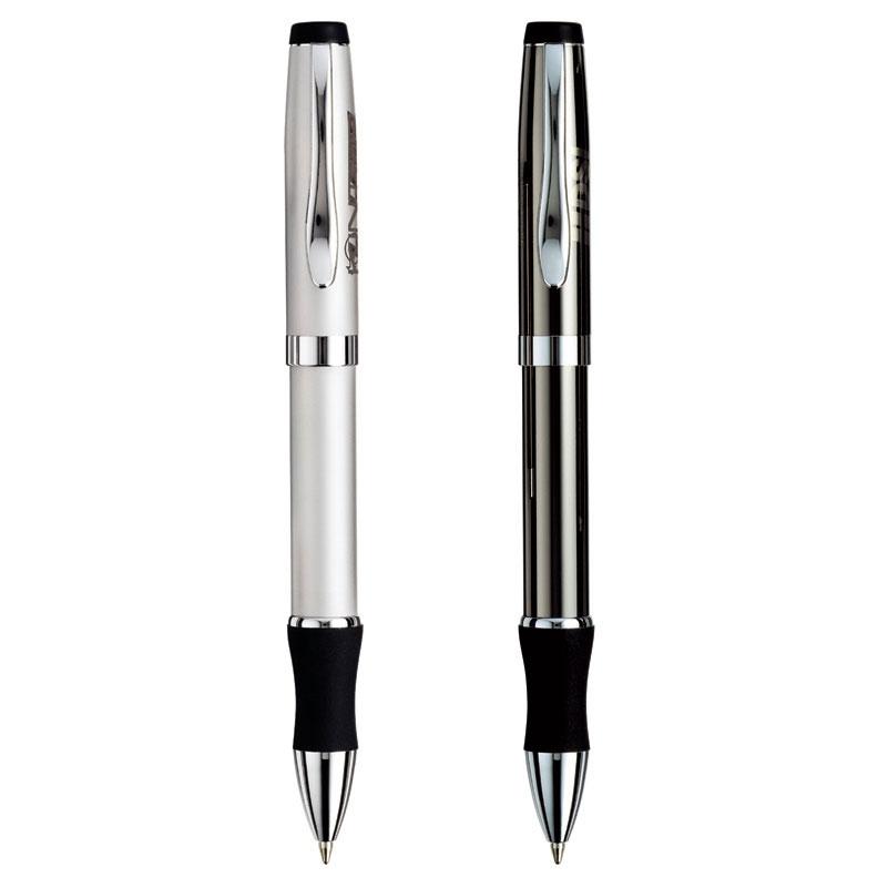 Brass Ballpoint Pen w/ Chrome & Soft Rubber Grip