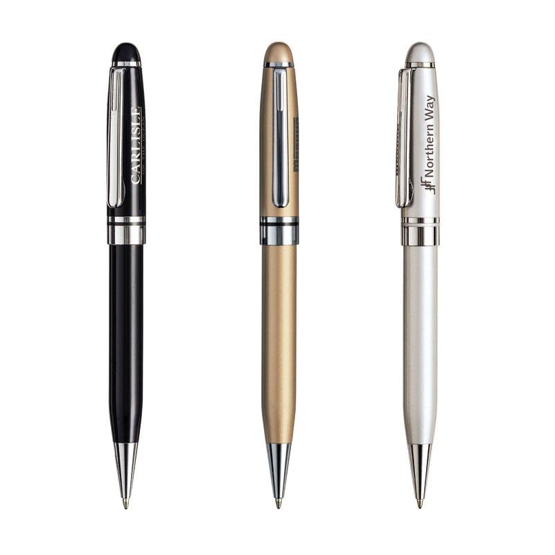 Brass Ballpoint Pen w/ Matte Finished Chrome Trim