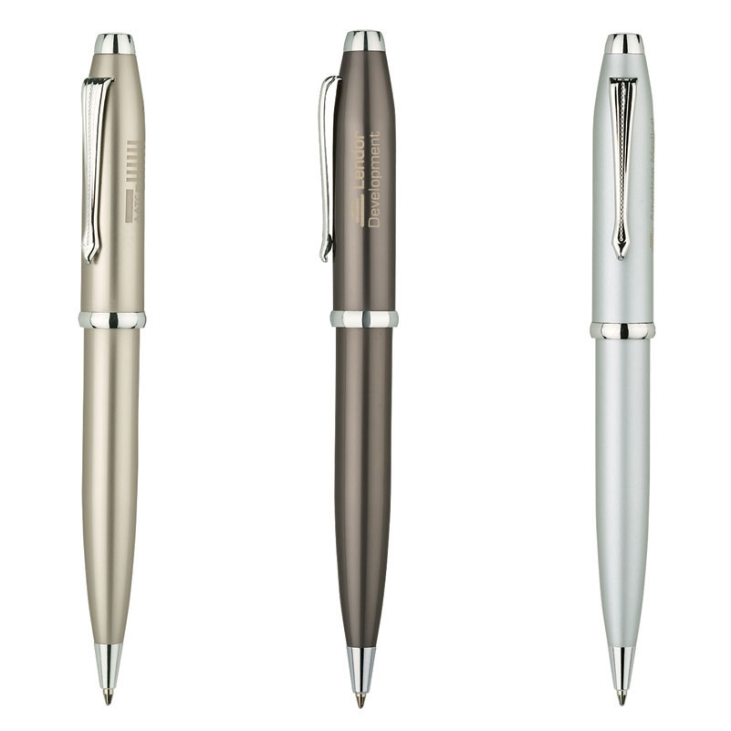 Satin Finished Ballpoint Pen w/ Chrome Etched Clip
