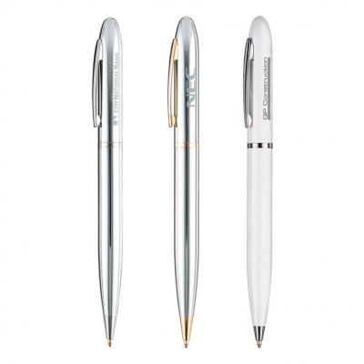 Solid Brass Constructed Ballpoint Pen w/ Silver or Gold Trim
