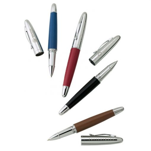 Bettoni Collection Cap Off Roller Ball Pen w/Leather Barrel