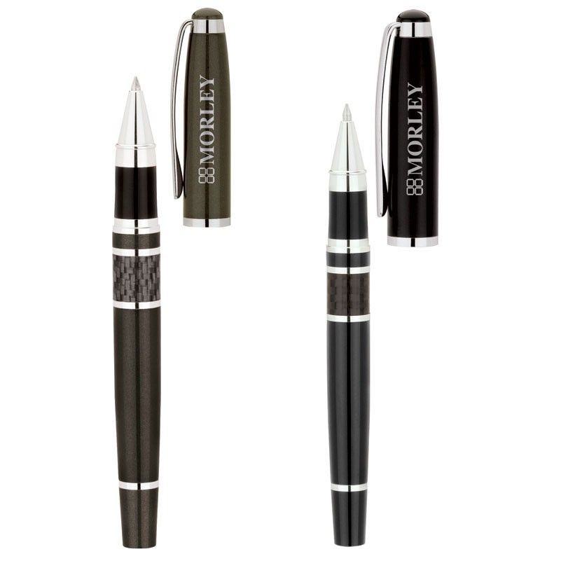 Bettoni Collection Roller Ball Pen w/Cap Off Design & Carbon Fiber Trim