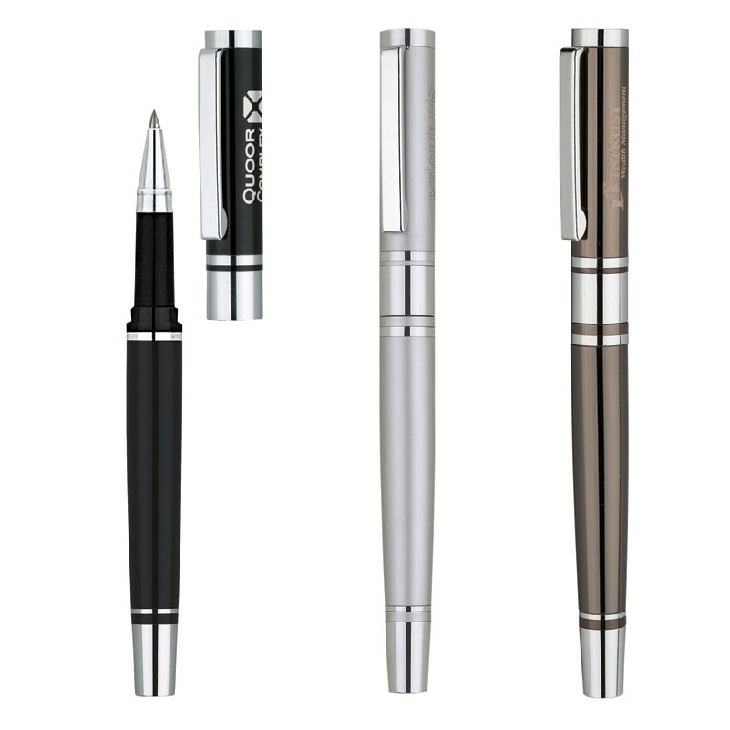 Miranda Solid Brass Rollerball Pen w/3 Center Band & Chrome Accents